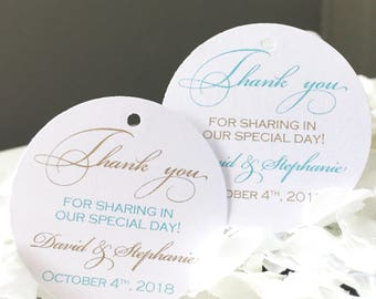 Set of 25 Mint and Gold Wedding Thank You Tags -  Mint and Gold Thank You Tag - Gold Glitter Tag - Personalized Thank You Tag - Shimmer Tag