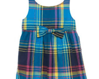 Baby girl summer dress in blue madras with bow