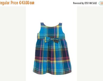 SALE Baby girl summer dress in blue madras with bow