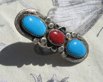Turquoise and Coral Ring, Sterling Silver , Size 8