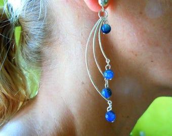 Long dangling earrings Silver 925 with cyanates blue.