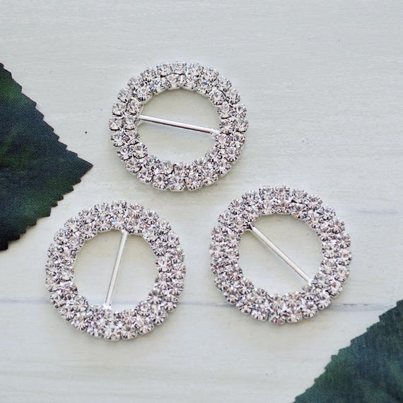 Silver Double Round Rhinestone Buckles for Invitations or Decoration with 15mm bar
