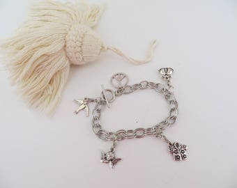 Silver plated mesh bracelet. they come on a double chain ring where personal charms.