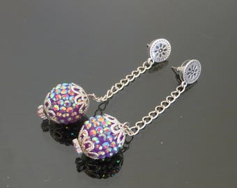 """DANGLE EARRINGS"" silver metal earrings with a pretty ""Shambala"" Pearl on silver chain"