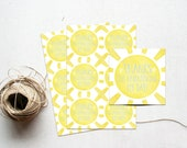 Sunshine Thank You Favor Tag, You are my Sunshine Baby Shower Gift Tag, Blue & Yellow, Our Little Ray of Sunshine, Birthday Party Printable