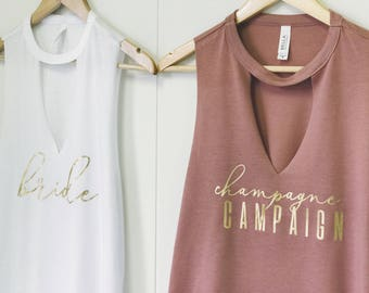 Champagne campaign Bachelorette party Shirts,Bridesmaid Shirts,Bridal Party Tank Tops,Bride Tank,Bridal Party shirts,Bachelorette Party Tank