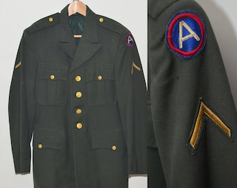 Vintage WWII Era 1940's US Army Private Sport Coat Gold Buttons | Green Army Jacket Private Rank