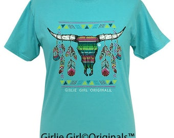 Girlie Girl Originals Serape Steer Scuba Blue Short Sleeve T-Shirt