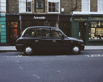 Black Cab London Color Photo, London Photography, Instant Download, Art Prints, Decor, Digital Download, London Art, Print