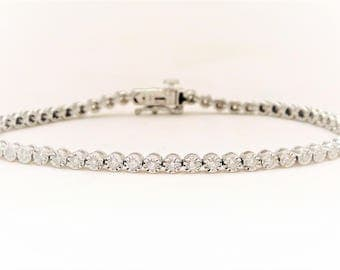 1ct White Gold Diamond Tennis Bracelet