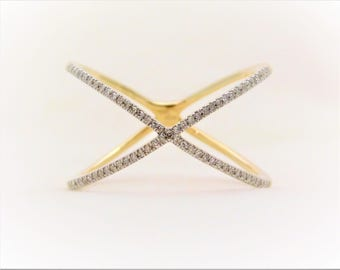 "10k Yellow Gold Diamond ""X"" Ring"