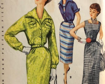 Simplicity 1036 junior misses sheath dress or jumper and jacket size 13 bust 31 vintage 1950's sewing pattern
