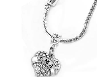 OMA European style necklace OMA necklace OMA gift Crystal heart charm