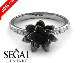 White Gold Engagement Ring Black Diamond Ring Flower Engagement Simple Ring For Her White Gold Engagement Ring - Lotus