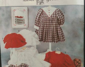 Size 2- 6x Girls Dress Sewing Pattern and doll dress Heirloom Sewing Long Sleeved Bodice Yoke Gathered Skirt Sailor Dress Lace Dress