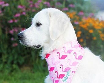 Pink Flamingos Dog Bandana  || Reversible Classic Tie Pet Scarf || Personalized Puppy Gift by Three Spoiled Dogs