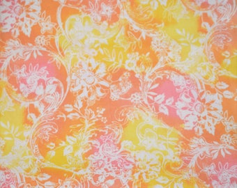 Pink Yellow Orange Floral Fabric, Orange and Yellow Quilting Fabric, Coral Orange Quilting Fabric, Pastel Quilting Fabric, Floral Fabric