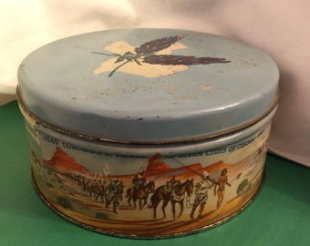 Metal cookie tin Texas fruitcake