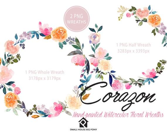 Digital Clipart- Watercolor Flower Clipart, peonies Clip art, Floral Bouquet Clipart, wedding flowers clip art- Corazon Wreath