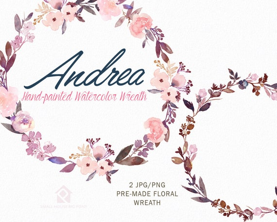 Digital Clipart- Watercolor Flower Clipart, peonies Clip art, Floral Bouquet Clipart, wedding flowers clip art- Andrea Wreath