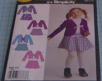 Simplicity It's So Easy 2316 Girls Skirt and Jacket Size 3-8
