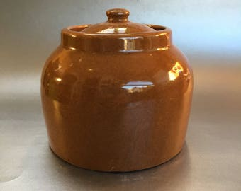 Vintage Brown Pottery Bean Pot Crock 5""