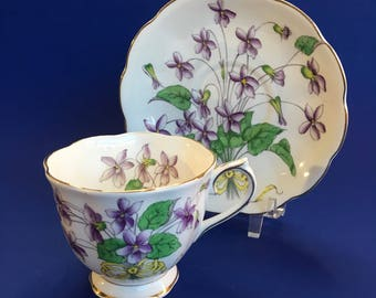 Royal Albert Violet Flower of the Month Bone China Tea Cup and Saucer England