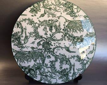 "11"" Spode Williamsburg Provincial Garden S3610 Porcelain Trivet Serving Platter Tray"