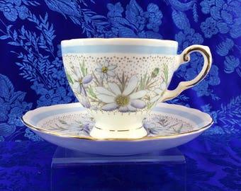Tuscan Blue Flowers Bone China Tea Cup and Saucer Vintage England