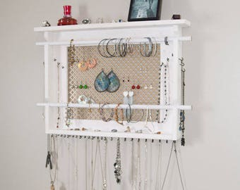 JEWELRY ORGANIZER, LARGE Wall Mounted Jewelry Holder, Available In Your  Choice Of Stain Color