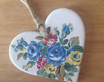 Handfinished Ceramic Hanging Heart Decoration- Cath Kidston Floral Highgate Rose