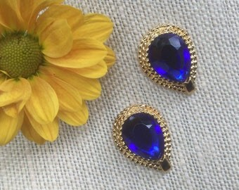 Royal blue earrings, stud earrings, under 10, gift for her, bridesmaid jewelry, chunky earrings, stocking stuffer, bridemsad gift, mom gift