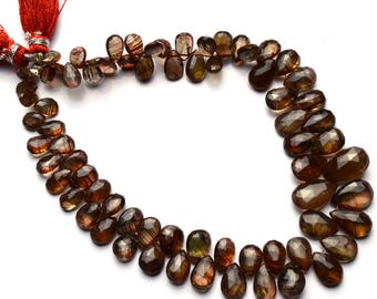 Super Rare Gemstone Andalusite Faceted Pear Briolettes 9.5 Inch Full Strand 7x5 to 13x8MM AAA Super Quality Beads Mined in Andalusia Spain
