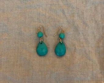 Turquoise colored bead dangle earrings