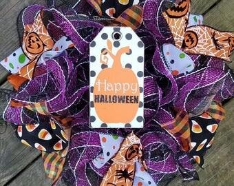 Halloween Wreath, Holiday Wreath, Happy Halloween Wreath, Deco Mesh Wreath, Ribbon Wreath, Mesh Wreath