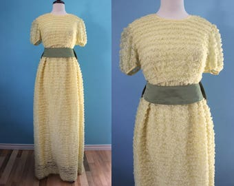 60's Prom Dress      Yellow Ruffled Lace Formal Gown 60's Prom Dress 60's Party Dress 60's Occasion Dress