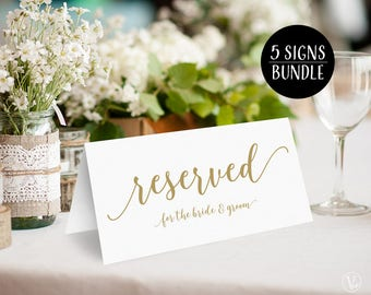 Gold Reserved Signs Bundle: Printable Reserved Signs for Bride & Groom, Bride's Family, Groom's Family, Bridal Party, Reserved, VW10GOLD