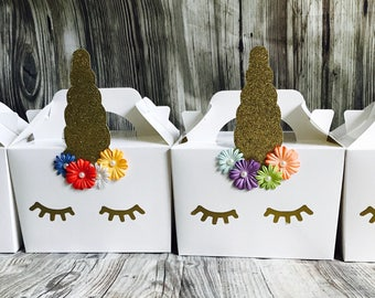 Unicorn party boxes bags favours children's party handmade pack of 40