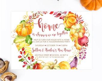 Housewarming Invitation, Housewarming Party, Fall Housewarming Party, Fall, Autumn, Floral, Watercolor, New Home, New House, Invites [655]