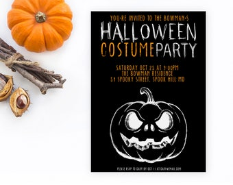 Pumpkin Invitation, Jackolantern Invitation, Costume Party Invitation, Custom Invitation, Halloween Party Invitation, Halloween Invites [47]