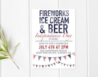 4th Of July BBQ, Fourth Of July Party, Independence Day, BBQ Invitation, American Flag, Flags, Summer BBQ Invite, 4th Of July Invites [231]