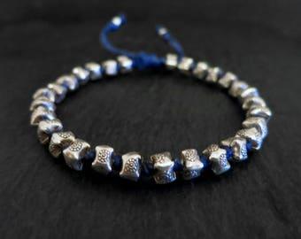 waxed cord faceted sterling beaded men bracelet / beach bracelet / mens surfer bracelet / adjustable bracelet