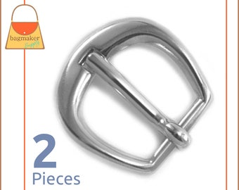 "5/8 Inch D Buckle, Shiny Nickel Finish, 2 Pieces, Buckle for Purse Straps, Handbag Bag Making Hardware Supplies, 5/8"", BKS-AA062"