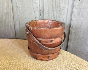 Vintage Firken wood bucket/ wood bucket/ antique wood bucket/ wooden bucket/ antique Firken/ farmhouse decor/ farmhouse bucket/ fixer upper