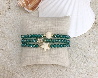 CABO | Sea Turtle Bracelets, Beach Bracelets, Beaded Bracelet Set, Sea Turtle Jewelry, Bead Bracelet Set, Beaded Bracelet Stack, Seashell