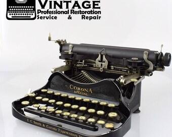 Vintage LC Smith Corona Special 3 Bank Typewriter Working Serviced Black Ribbon