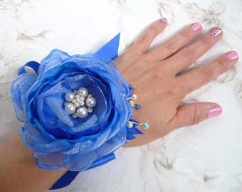 "Royal Blue  Fabric Flower ( Headband, Hair clip, Brooch, Wrist corsage, Floral bracelet)  ""Spring breeze"""