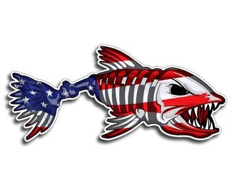Bone Fish USA Sticker Printed Digital Vinyl Decal Fish Fishing Car Truck Boat Patriotic American America Laptop