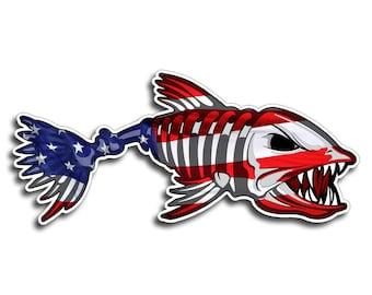 Bone Fish USA Sticker Printed Digital Vinyl Decal Fish Fishing Car Truck Boat Patriotic American America Laptop