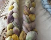Merino roving hand dyed 20 micron 105 gms Colour 13 Yellows Purples Greens Browns